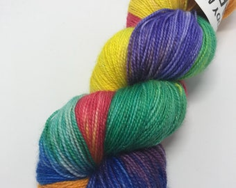 Painbow into a Rainbow Hand Dyed Sparkle Yarn 100g/400m 75/20/5% Superwash Merino/Nylon/Silver Stellina 4Ply Sock Fingering Weight