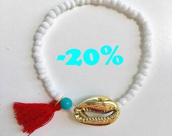 SUMMER SALE / / / boho cowrie shell Bracelet & coral tassel