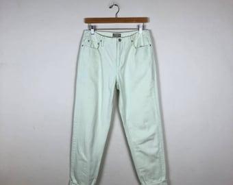 90s Light Green Denim Size 29, High Waist Denim 29, Liz Claiborne Jeans