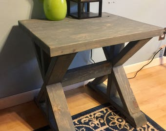 Distressed Riverstone Gray Side Table