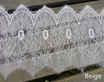 Vintage Off white Eyelash Lace Trim 11.02 Inches Wide 3.28 Yards/ Craft Supplies, WL882