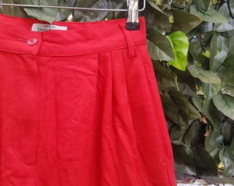 Vintage 80s Red Wool United Colours of Benetton High Waisted Trousers