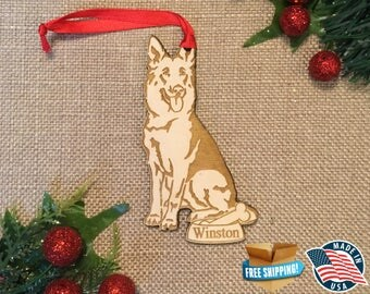 German Shepherd Ornament *** Personalized Dog Ornament  ***Dog Lover Gift *** Christmas Holiday Ornament ***