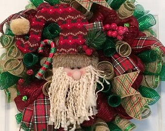 Santa Wreath, Rustic Christmas Wreath, Christmas mesh wreath, Rustic Santa Wreath, Rustic Christmas Decor, Xmas mesh wreath