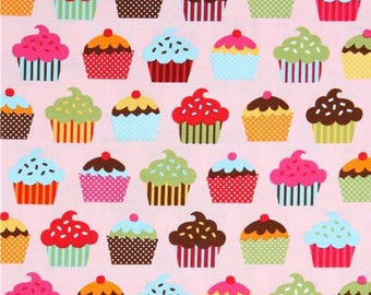 Confections Cupcakes on Pink Fabric by the Yard Caleb Gray Robert Kaufman