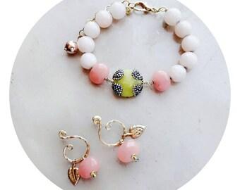 Rose quartz jewelry set, beaded jewelry, bead jewelry, jewelry gift, romantic gift, gift for her, gift for girlfriend, bridesmaid gift