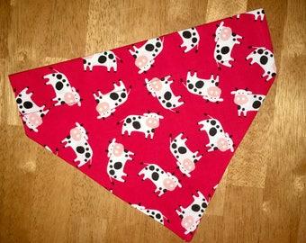 Cow Dog Bandana, Dog Bandana, Over the Collar Dog Bandana, Pet Bandana