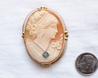 "Estate 14K HEAVY Yellow Gold Carved Shell en Habille Diamond Cameo Pendant Convertible Brooch Pin Victorian 2"" long 9.7g Marked 14 k kt 14kt"
