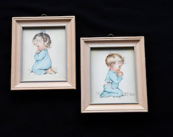 Charlot Byj Framed Prints-Praying Girl Print-Praying Boy Print