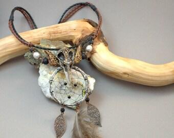 Statement jewelry necklace Polymer clay necklace Dreamcatcher necklace Skull necklace Bib necklace Gothic jewelry