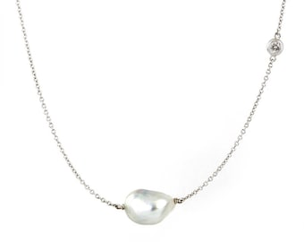 18k white gold South Sea baroque pearl and diamond necklace