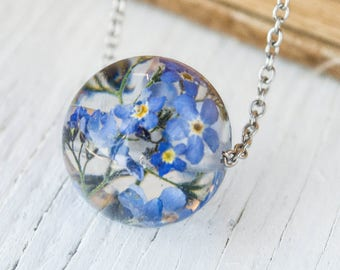 Terrarium necklace Real forget-me-not necklace Terrarium jewelry Forget me not Resin jewelry Botanical resin necklace Nature Jewelry