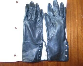 Vintage Black Leather Gloves 3-button