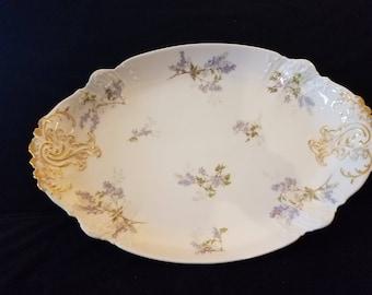 Large Antique CH Field Haviland GDA Limoges France fine china platter gold white lilac