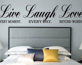 Bedroom Wall Decal | Live Laugh Love Decal | Bedroom Decor | Bedroom Wall Decal | Vinyl Wall Decal | Inspirational Quote