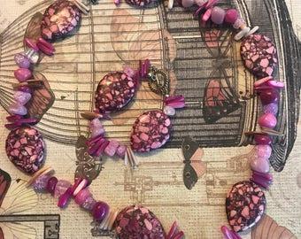 Pink Stone Necklace/Bracelet Set