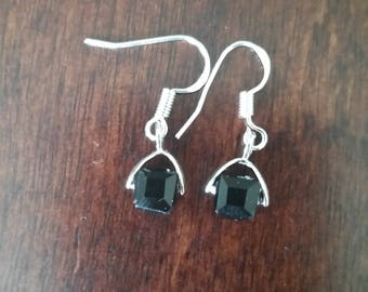 Crystal earrings, Cube earrings, Black earrings, Dangle earrings, Women's earrings, Gifts for her, Gifts under 20
