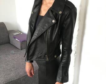 Women's Leather Biker Jacket in Black Size  Small