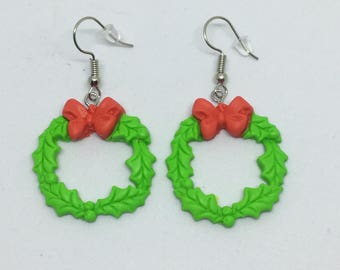 Christmas Wreath red bow polymer clay earrings