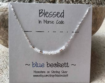 BLESSED in Morse Code Necklace / Faceted Moonstones on Sterling Silver or Gold Filled / Bar Necklace / Custom / Personalization Available