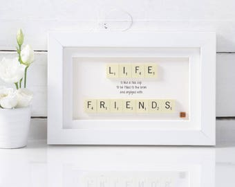 Handmade Friend Scrabble Art . Birthday Gift.  Best Friend Gift. Friend Present. Best Friend Present. Friend Gift Friends. Scrabble Gift.