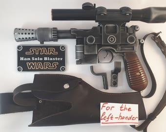 For the left-hander - Star Wars Blaster DL-44 + real leather holster - Han Solo blaster - Battlefront - cosplay - props