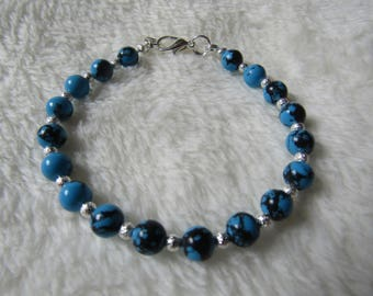 Semi Precious African Turquoise & Silver Stardust Bead Bracelet Gift Boxed