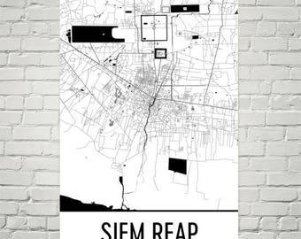 Angkor Wat Print, Siem Reap Map, Angkor Wat Art, Siem Reap Cambodia Poster, Siem Reap Wall Art, Cambodia Poster, Cambodian Gifts, Art