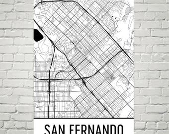 San Fernando Valley Map, San Fernando Valley Art, San Fernando Print, San Fernando CA Poster, Fernando Wall Art, Gifts, Map of California