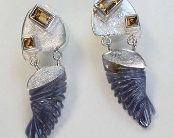 Citrine Carved Iolite Earrings Wings Feathers Sterling Silver Post Drop Matte Finish