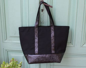Black faux patent leather tote sequins