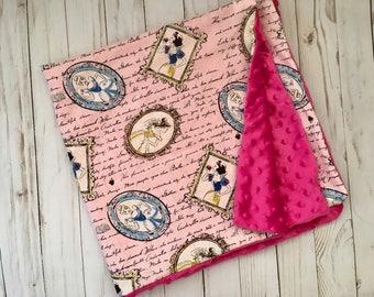 Minky Baby Blanket, Toddler Blanket, Princess Blanket, Baby Girl Blanket|, Pink baby blanket