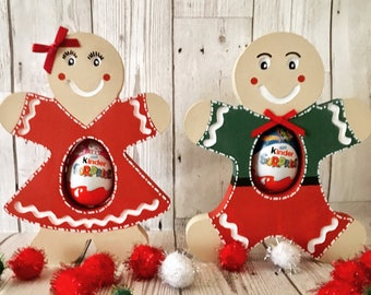 Gingerbread Man, Gingerbread Lady, Chocolate Egg Holder, Wooden Gingerbread, Christmas Decorations