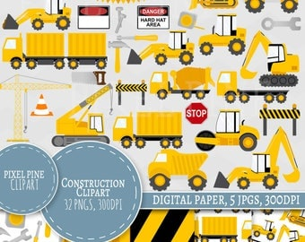 Construction Clipart Set, 30 PNGs, 5 Construction Trucks Digital Paper JPGs, Commercial Use, construction vehicle clipart, tractor vehicles