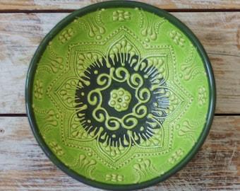 Green bowl, pottery bowl, green plate, decorative bowl, handmade bowl, handmade pottery, fruit serving bowl, ceramic bowl, oatmeal bowl