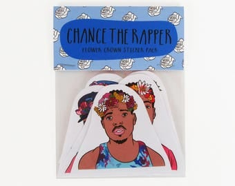 CHANCE THE RAPPER, flower crown, 6 piece sticker set, Chance the rapper stickers, Chance coloring book, acid rap,rapper art, rapper stickers