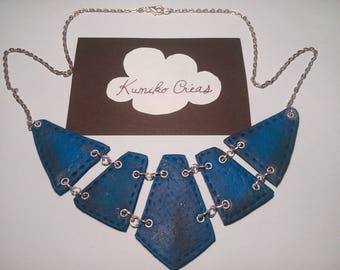 Blue leather effect bib necklace