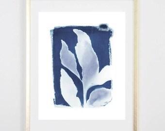 Blue Botanical Cyanotype 4 PRINT / Handmade Art Print / Original Botanical Floral Cyanotype Photogram Art / indigo/  8x10