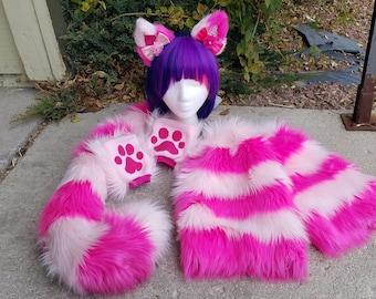 Fuschia/Pastel Pink Faux Fur Cheshire Rave Set (Read Details and/or Shop Announcement)