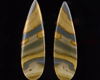 Owyhee Picture Jasper Deer Sky Long Teardrop Designer Cabochon Earring Set CR674