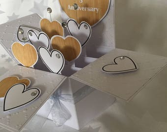 5th anniversary card - with silver or gold ribbon