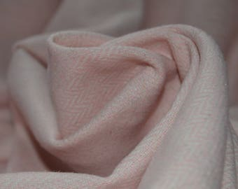 0.89 yards Baby Pink & White Wool Blend Subtle Herringbone Flannel Suiting Fabric 60W