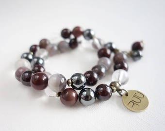 Bracelet beads, stone beads. round stone beads, burgundy color bracelet, two set bracelet, with pendant, gift for her