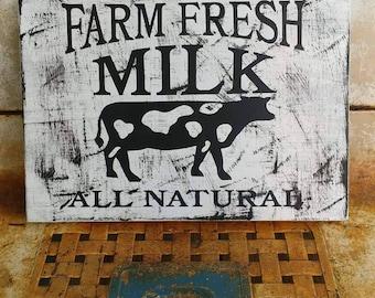 Rustic Wooden Milk Sign