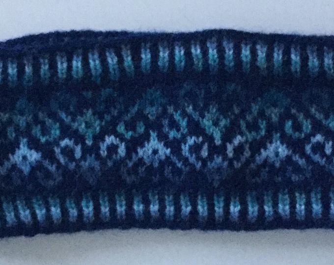 Navy Blue Fair Isle Headband