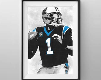 Carolina Panthers Poster - Carolina Panthers Art - Carolina Panthers Wall Art - Cam Newton Poster - Cam Newton Print - Carolina Panthers