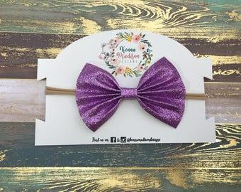 Lavender  light purple Glitter Bow Headband