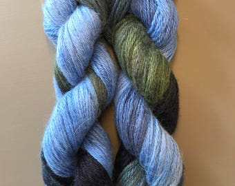 100g Superfine Alpaca / Silk Aran Yarn, hand dyed in Scotland, blue, green, navy variegated