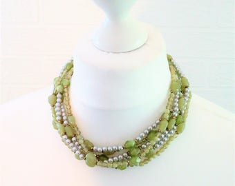 Shades of Green Multistrand Choker Necklace/Faux Pearls and Beads Statement Necklace/Adjustable Extender/Retro Necklace/Circa 1980s