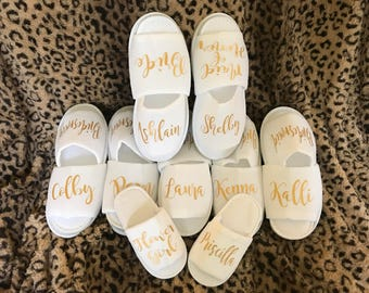 Bridal Party Slippers / Bridesmaid Gift / Bridal party gift / personalized